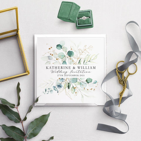 Dreamy Eucalyptus Folded Wedding Invitation