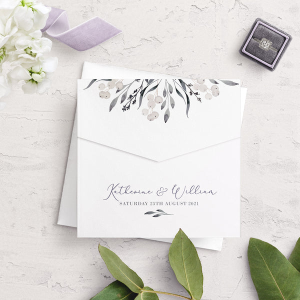 Whiteberry Gardens Envelope Fold Wedding Invitation