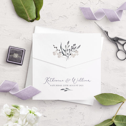 Whiteberry Gardens Posy Envelope Fold Wedding Invitation