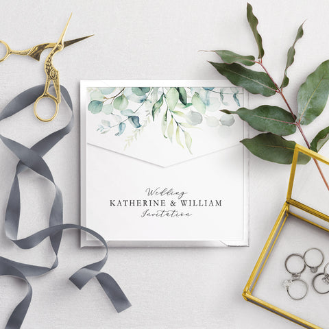 Dreamy Eucalyptus Envelope Fold Wedding Invitation