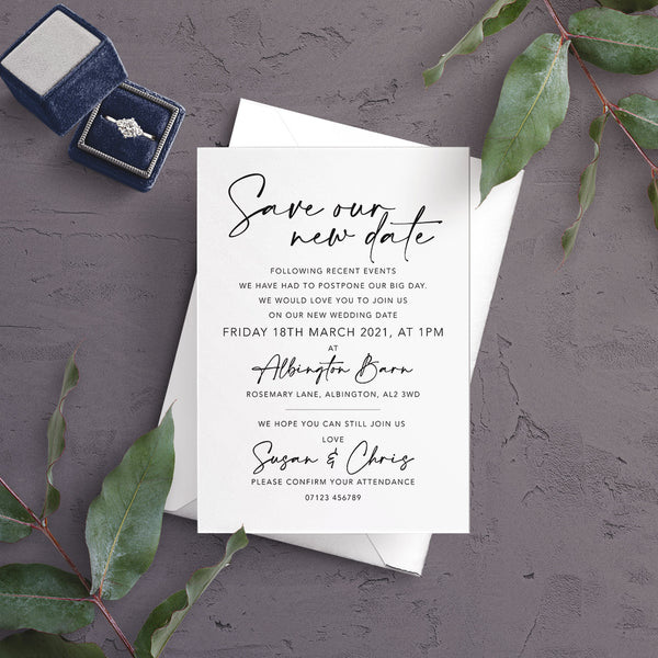 A6 Postponement Save the New Date Invitations