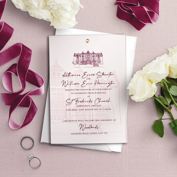 Woodlands Illustration A5 Vellum Overlay Wedding Invitation