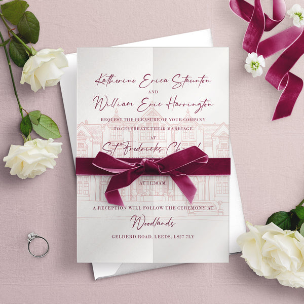 Woodlands Illustration A5 Vellum Wrap Wedding Invitation