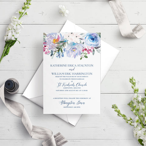 Ainsley Blue Flora A5 Flat Wedding Invitation