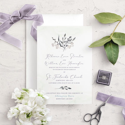 Whiteberry Garden A5 Flat Wedding Invitation