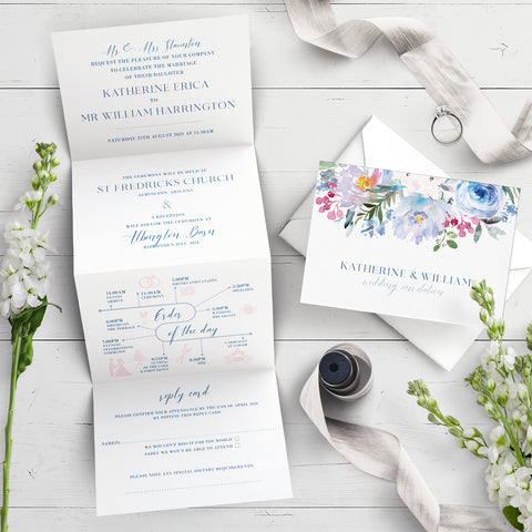 Ainsley Blue Flora Concertina Wedding Invitation