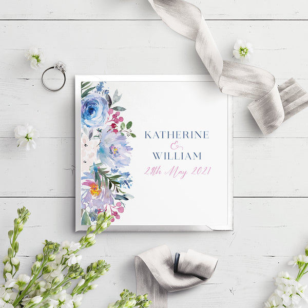 Ainsley Blue Flora Folded Wedding Invitation