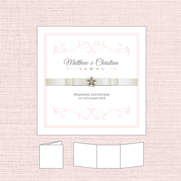 Grace - Ribbon Tri-fold Invitation