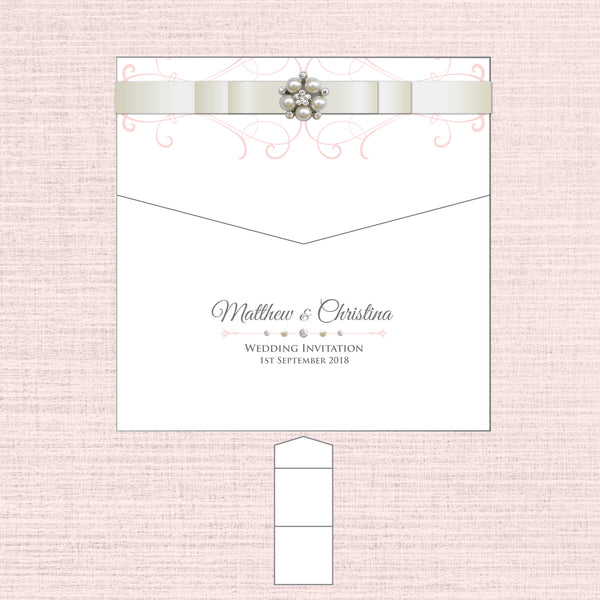 Grace - Ribbon Luxury Envelope Fold Invitation