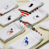 Dog Socks - Embroidered Dog Socks for Women, cotton, white  - 11 Designs