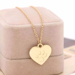 Love Heart Cat Paw Necklace - Silver or Gold