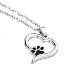 Hollow Pet Paw Print Necklaces - Pet Lover Paw in Heart - Black and Silver