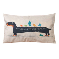 "Dog Pillow Cases - Dachshund Cushion Cover,  ""We are Best Friends...' - Long Pillow Case"