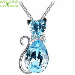 Crystal Cat Pendant - Austrian Crystal, 6 Different Colors