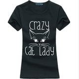 Cat T-Shirts - Crazy Cat Lady 2017 Printed T-Shirt for Women - 4 Sizes/10 Colors