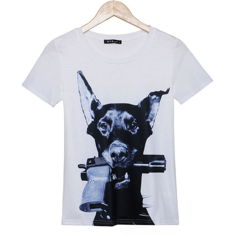 Dog T-Shirts - Doberman with Gun in Mouth - 3 Sizes / 2 Colors