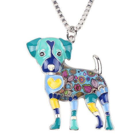 Dog Necklaces - Enamel Jack Russel Dog Necklace and Pendant - 6 Colors