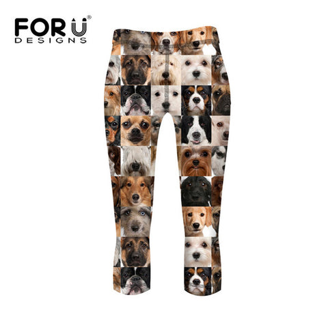 Dog Leggings - Patchwork Dog Design, High Waist Ladies Leggings - 3 Sizes