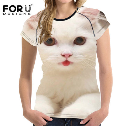 Cat T-Shirts - Women's 3D Funny White Cat Pattern T-Shirt - 6 Designs/5 Sizes