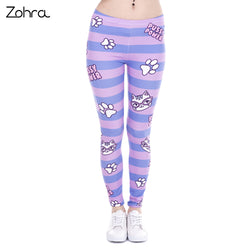 Cat Leggings - Stripes with Cat Print, Pussy Power -  Purple & Blue