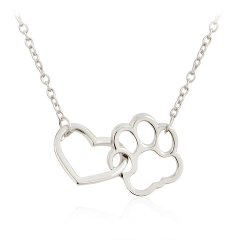 Dog Necklaces - Linked Heart and Paw Pendant Necklaces - Gold or Silver