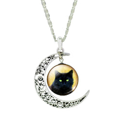 Silver Plated Color Chain Choker Necklace - Cat and Crescent Moon