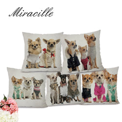 Dog Pillow Cases - Dog Pattern Printed Cushion Covers, Dogs Dressed up - 5 Designs