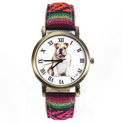 Dog Watches - Bulldog Dog Quartz Watch, Canvas Belt -  7 Colors