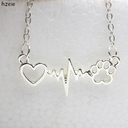 Cats Paw, Heart and Heartbeat Necklace and Pendant - Gold, Silver, Rose Gold