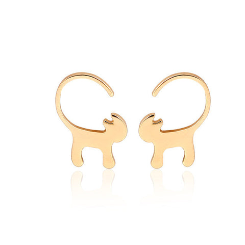 Long Tail Cat Stud Earrings - Tiny Kitty Earrings, Gold, Rose Gold, Sterling Silver