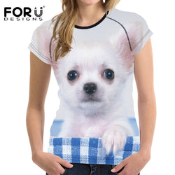 Dog T-Shirts - Cute 3D Puppy Printed T Shirt for Women, Short Sleeve - 5 Sizes / 6 Designs