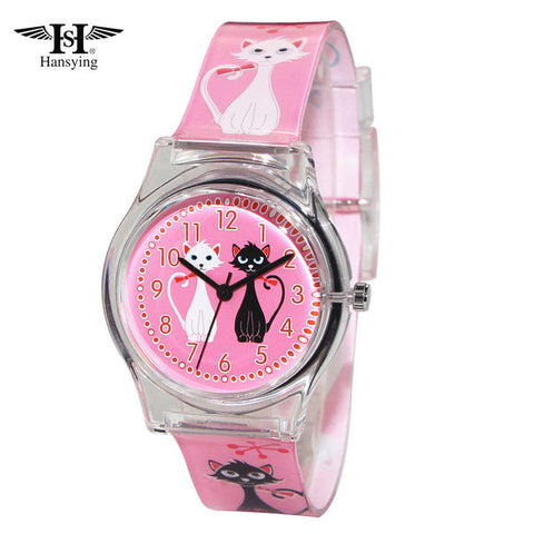 Cat Watches- Pink Band and Face, Cat Design Women Quartz Waterproof Watch