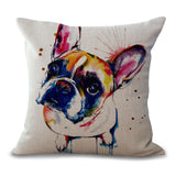 Dog Pillow Cases - Bull Dog / Pug Dog Pillow Cases Abstract Watercolor - 6 Designs
