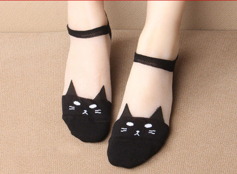 Cat Socks - Low Cut Transparent Black Cat Socks, Women's and Girls - 3 Colors