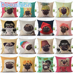 Dog Pillow Cases - Pugs Wearing Hats and Scarfs - 19 Designs