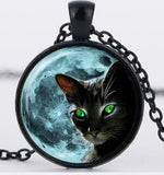 Blue Moon Black Cat Glass Necklace - Silver Chain, Green Cat Eye