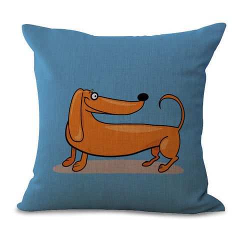Dog Pillow Cases - Funky Cartoon Daschshund Dog Pillow Cases - 7 Designs