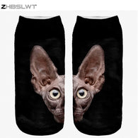 Cat Socks - 3D Print, Sphynx Cat Women's Ankle Socks - 9 Designs
