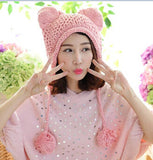 Cat Hats - Very Cute Cat Ears Winter Hat,  100% Handmade Knitted - 14 Colors to Choose From