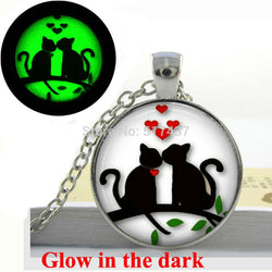 Glow in the Dark Necklace and Pendant - Kissing Cats, Glass Art