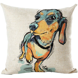 Dog Pillow Cases - Decorative Linen/Cotton Blend Cushion Covers, 16 Designs