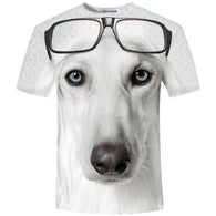 Dog T-Shirts - White Dog T-Shirt wearing Glasses, 3D Design - 8 Sizes Available
