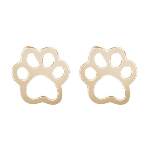 Dog Earrings - Dog Paw Earrings, Vintage Style Studs - Gold Color or Silver