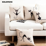 Cat Pillow Cases - Abstract Black Cat Pillow Cases - 4 Styles