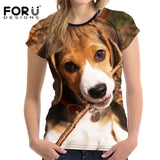 Dog T-Shirts - Beagle Printed T-Shirts for Women - 4 Designs / 5 Sizes
