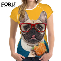 Dog T-Shirts - Women's Summer Tee 3D Dogs Wearing Glasses - 6 Breeds/5 Sizes