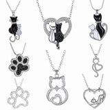 Black and White Cat Claw Pendant - Sitting On Heart, Crystal Pendant/Necklace - 8 Designs