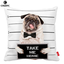 Dog Pillow Cases - Pug Dog Mug Shot Design - Huge range of Sizes