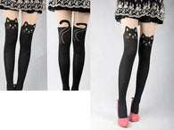 Cat Leggings - Spring Knee High Length Stretch Velvet Cat