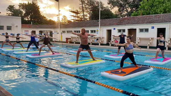 Salti group fitness class - floating fitness on Australia's floating fitness mat